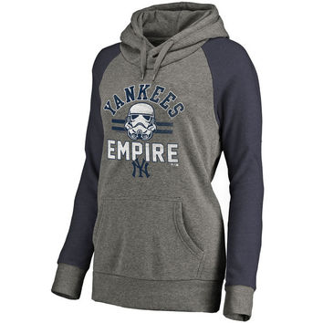 New York Yankees Fanatics Branded Women's MLB Star Wars Empire Tri-Blend Pullover Hoodie – Heather Gray
