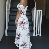 Breezy Kisses Ivory Floral Maxi Dress