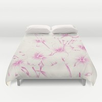 pink flowers Duvet Cover by Sylvia Cook Photography