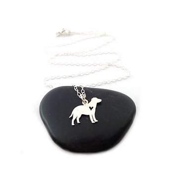 Labrador Retriever with Heart Necklace - Sterling Silver Jewelry