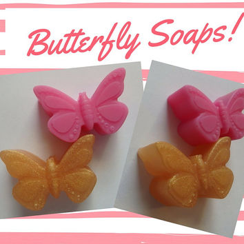 Pink & Gold Butterfly Soap Favors - Guest Bath or Wedding Favor Bridal Shower Party Favors for Celebration Butterfly Favor | Pack of 26