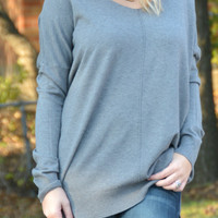 Simply Heaven V-Neck Sweater - Gray