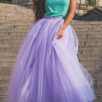 Purple Patchwork Grenadine Draped High Waisted Floor Length Fashion Tutu Maxi Skirt