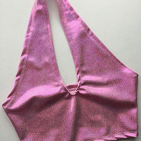 Baby Spice Pink Hologram No-Tie Halter Top - ravewear spice girls edc ultra crop top holographic