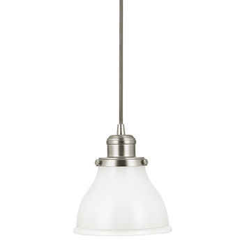 Capital Lighting Fixture Company 4551BN-128 Baxter Brushed Nickel One-Light Mini-Pendant with Milk Glass