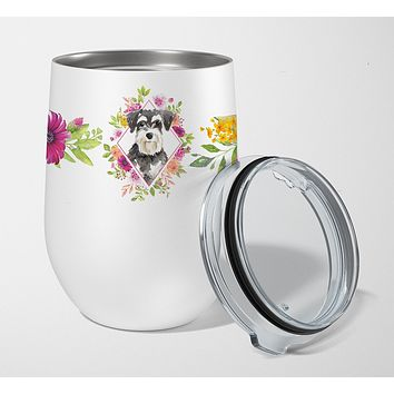 Schnauzer #2 Pink Flowers Stainless Steel 12 oz Stemless Wine Glass CK4222TBL12
