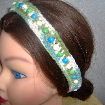 Crochet headband,womens accessory,handmade with cotton,adult hair accessory,Headband is green,blue,and off white with beads an measures 23x1