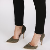 Keely High Heels in Khaki Faux Suede