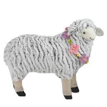 "13"" White and Brown Plush Standing Sheep Spring Easter Figure"