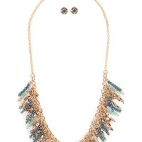 Jewelry set with Fringe Bead Necklace and Matching Stud Earrings