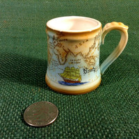 Vintage Small Stein Mug with World Map and Voyage of the Bounty Ship - Ceramic