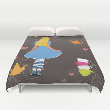 Alice in Wonderland tea party print Duvet Cover by Bad English Cat