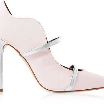 Malone Souliers Maureen Rose Moire Fabric and Silver Metallic Nappa Leather High Heel Pumps