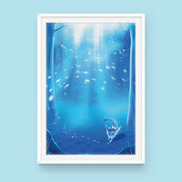 Pokemon Vaporeon Poster: Aquamarine, Eeveelution Poster, Pokemon Poster, Anime Poster, Pokemon Art