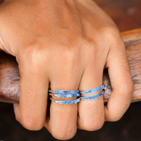 Rough blue hauyne ring, sterling silver, electric neon and azure blue gemstones - dainty stacking ring