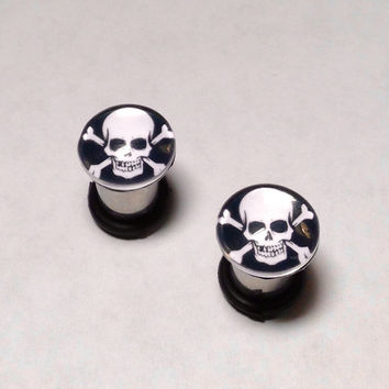 Skull and Crossbones Plugs & Earrings 14g-00g