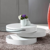 Stylish Tiered White Coffee Table