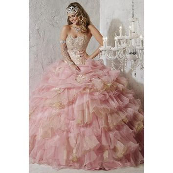 Quinceanera Collection - 26781 Floral Applique And Beaded Ballgown