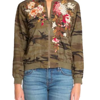 Johnny Was Pete & Greta Molly Camo Chrystie Bomber Jacket