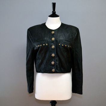 Vintage 1980s Black Cropped Military Leather Jacket Studded Small Medium 10 12