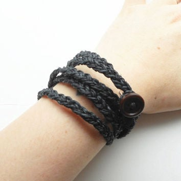 Braided Hemp Wrap Bracelet in Black, ready to ship.