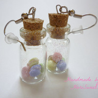 Cute Macaron Bottle Earrings Food Jewelry Bottle by HoriSweetShop