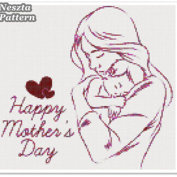 Mothers day  Cross Stitch Pattern, Mothers day x stitch pattern, colorfull Mother and baby Cross stitch Embroidery, Embroidery pattern