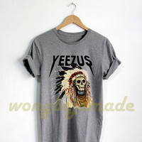 Yeezus Indian Skull Shirt Yeezy Tshirt Kanye West Gray and White Color Unisex Size T-Shirt