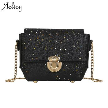 Aelicy Fashion Women Ladies Bags Crossbody Chain Bling Messenger Shoulder Bag Handbag PU Leather fashion high quality Bags