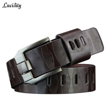 Lucidity Men Belts Smooth Buckle Fashion PU Leather Popular Alloy Animal Alphabet Buckle Belts Creative Women Belts