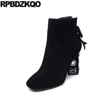 Booties Suede Bow Size 10 43 Shoes Brand Square Toe Genuine Leather Strange Big Fall Ankle Women Black Rhinestone Side Zip Boots