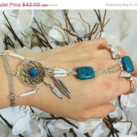 CHRISTMAS SALE Dream Catcher Slave Bracelet Ring. Blue and Green Gemstone Rectangular Beads.527 Multi-Use Beacon Glue to adhere Gemstone to