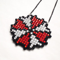 Sparkly Resident Evil Umbrella Necklace - Crystal Rhinestone Encrusted Geek Chic Video Game Inspired Horror Zombie Jewellery