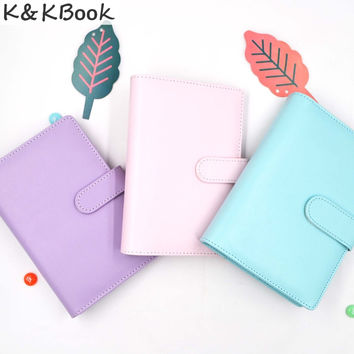 K&KBOOK Macaron Leather Spiral Notebook Ring Binder 230P A6 A5 Journals Monthly Weekly Agenda Planner Organizer  A5 A6 Papelaria