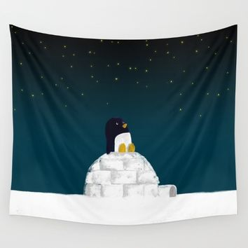 Star gazing - Penguin's dream of flying Wall Tapestry by Picomodi