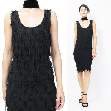 Vintage 90s Black Fringe Dress Body Con Spandex Dress Tassel Dress 1920s Style Flapper Dress Go Go Dancer Sexy Cocktail Party Dress (XS/S)