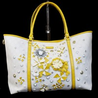 Authentic GUCCI GG Pattern Tote Shoulder Bag PVC Leather White Italy 60BA114