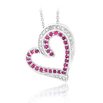 Created Ruby & Diamond Accent Floating Heart Necklace