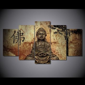 5 piece panel Canvas Panel Wall Art Print Picture poster Buddha Chinese religion