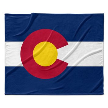 "Bruce Stanfield ""Flag of Colorado II"" Blue Red Fleece Throw Blanket"