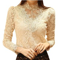 Women's Blouses Shirts elegant long Sleeve bodysuit beaded lace