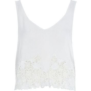 River Island Womens Cream lace front tank top