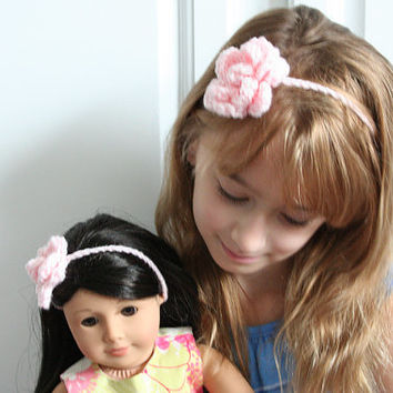 Matching Flower headband for girls and dolls, doll headband, doll flower headband, headband with flower