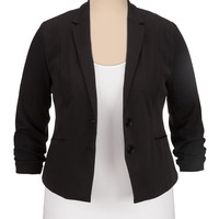 2 button cinched sleeve plus size blazer
