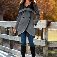 Cable Knit Collar Coat