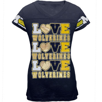 Michigan Wolverines - Foil Love Girls Youth Burnout T-Shirt