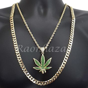 "MENS MARIJUANA CHARM ROPE CHAIN DIAMOND CUT 30"" CUBAN CHAIN NECKLACE SET G42"