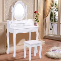 Costway White Vanity Wood Makeup Dressing Table Stool Set Bedroom with Mirror + 4Drawers - Walmart.com