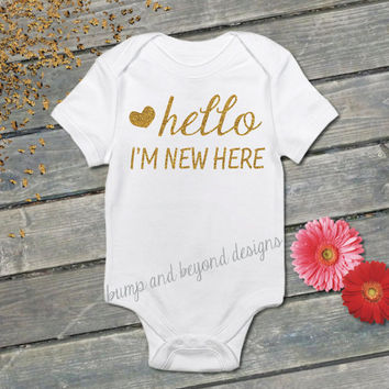 Newborn Hospital Take Home Outfit Hello I'm New Here Infant Photo Prop Outfit Going Home Outfit Baby Shirt Baby Coming Home Shirt 040