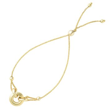 Ring Anchored To Loop Center Bolo Friendship Adjustable Bracelet In 14K Yellow Gold, 9.25""